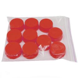 Caps: Screw Thread, GL-45, Solid, High Temperature, Red, 10/PK