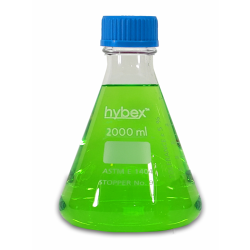 Erlenmeyer Flask: 2L Clear Glass, Screw Top & 45mm, Solid Cap, 1 EA