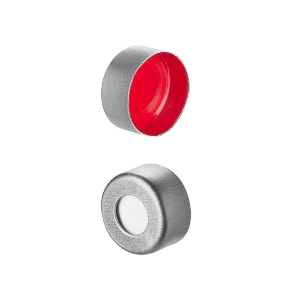 Caps: Crimp, Autosampler, 11mm Crimp Top, Fitted Septa, Aluminum, Soft-Guard Brand, 100/PK