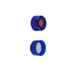 Caps: Screw, Autosampler, 9mm Thread, w/non-slit Fitted Rubber/PTFE Septa, Blue, MicroSolv™ Brand, 100/PK
