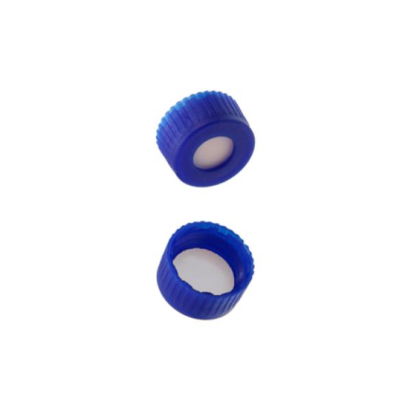 Caps: Screw Autosampler, 9mm Thread, w/non-slit Bonded Septa, Blue, AQ Brand, 100/PK