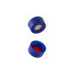 Caps: Screw, Autosampler, 9mm Thread, w/pre-slit bonded Silcone/PTFE Septa, Blue, MicroSolv™ Brand, 100/PK
