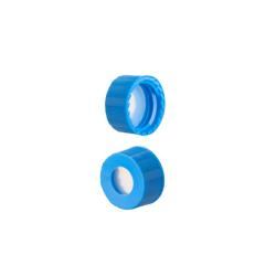 Caps: Screw, Autosampler, 9mm Thread, w/non-slit Fitted Septa, Blue, AQR™ Brand. 1,000/CS