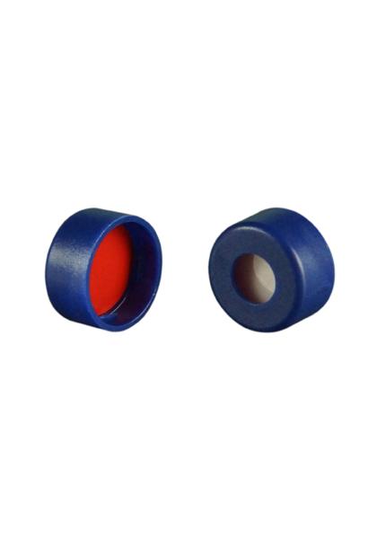 Caps: Snap, Autosampler, 11mm snap top, w/non-slit Fitted Septa, Blue, Soft-Guard Brand, 100/PK