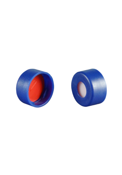 Caps: Snap, Autosampler, 11mm snap top, w/pre-slit Fitted Septa, Blue, Soft-Guard Brand, 100/PK