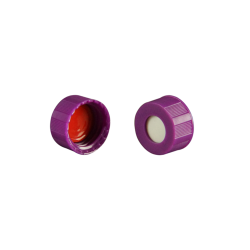 Caps: Screw, Autosampler, 9mm Thread, w/non-slit Bonded Septa, Purple, Soft-Guard™ Brand, 1,000/CS