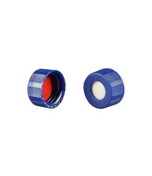 Caps: Screw, Autosampler, 9mm Thread, w/non-slit Bonded Septa, Blue, Soft-Guard™ Brand, 100/PK