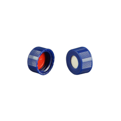 Caps: Screw, Autosampler, 9mm Thread, w/pre-slit Bonded Septa, Blue, Soft-Guard™ Brand, 100/PK