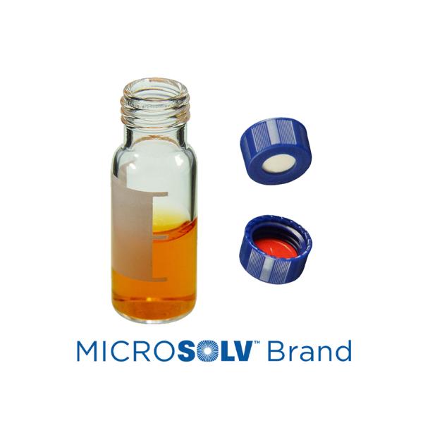 Vial Kit: 2ml Clear Screw Top, MicroSolv™ Vials w/write-on Patch & Soft-Guard™ Pre-Slit Screw Caps w/Non-Slit Septa, 1/PK