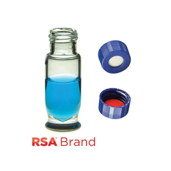 Vial Kit: 1.8ml Clear, Screw Top, RSA Max Recovery Vials & Soft-Guard Screw Caps w/non-slit Septa, 100/PK