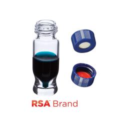 Vial Kit: 1.2ml Clear Screw Top, RSA MRQ Vials & Soft-Guard Screw Caps w/pre-slit Septa, 100/PK