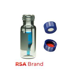 Vial Kit: 300ul, Fused Insert, Clear w/Write-on,  Screw Top, RSA Vials & Soft-Guard Screw Caps w/Pre-slit Septa, 100/PK