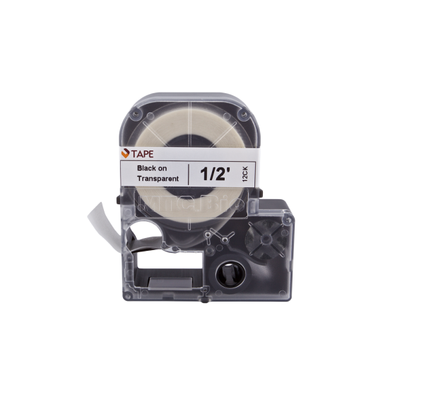 Individual Cassette Lab tape for LABeler™ 12mm Clear with Black print 1/EA