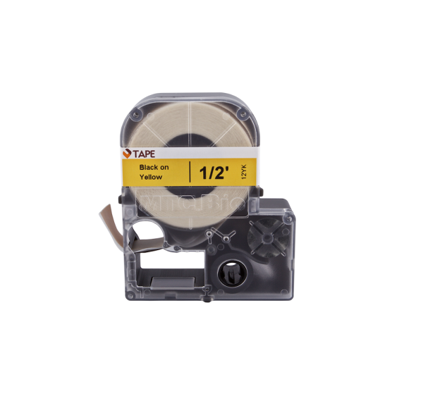 Individual Cassette Lab tape for LABeler™ 12mm Yellow with Black print 1/EA