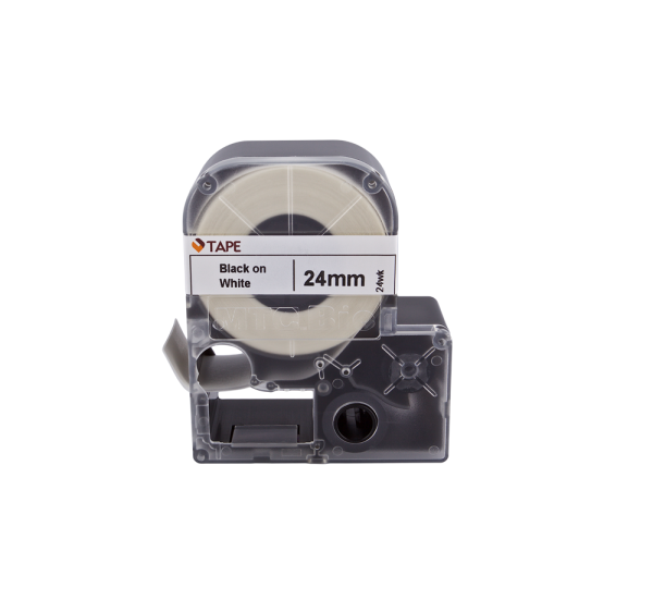 Individual Cassette Lab tape for LABeler™ 24mm White with Black print 1/EA