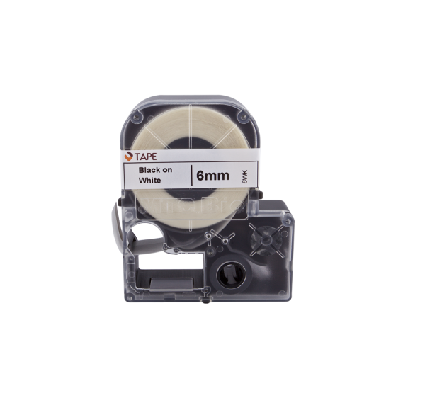 Individual Cassette Lab tape for LABeler™ 6mm White with Black print 1/EA