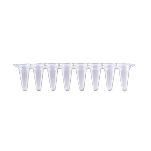qPCR Tubes, 0.1mL in a strip of 8, Optical Stip Caps, Natural. 120/PK