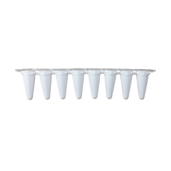 qPCR Tubes, 0.1mL in a strip of 8, Optical Stip Caps, White. 120/PK