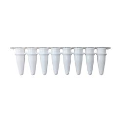 qPCR Tubes, 0.2mL in a strip of 8, Optical Stip Caps, White. 120/PK