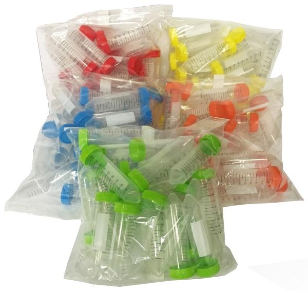 Centrifuge Tubes, SpectraTube™ brand, 50ml, Sterile, 25 Tubes per bag, 5 colors,  500/CS